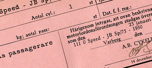 Del av registerkort för Speed-JB.