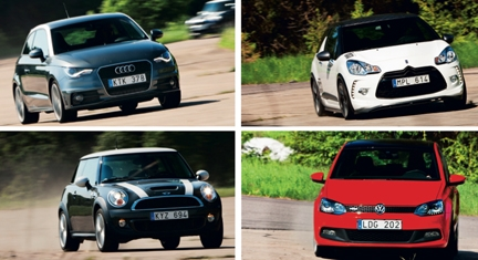 TEST: Audi A1 Sport, Citroën DS3 Racing, Mini Cooper S och Polo GTI