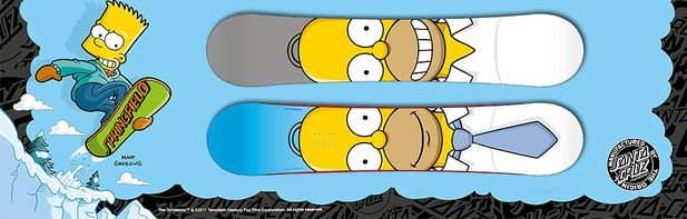 The Simpsons åker snowboard